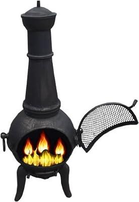 Black 125cm Cast Ironsteel Chimnea Patio Heatercooking Bbq Grill Chiminea