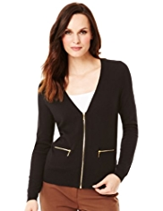 M&S Collection Deep V-Neck Zip Through Cardigan with Wool