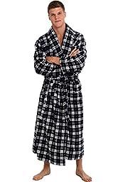 Del Rossa Men\'s Fleece Robe, Long Bathrobe, Small Medium Dark Blue and White Plaid (A0124P07MD)