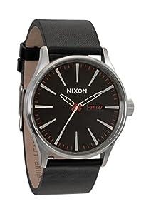 Nixon A105000 sentry black dial leather strap men watch NEW