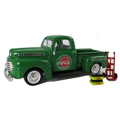 1948 Ford Pickup Truck Coca Cola Green with Coke Bottle Cases and Hand Cart 1/43 by Motorcity Classics 467431
