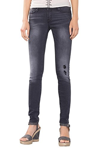 edc by ESPRIT im Used-Look, Jeans Donna, Nero (Black Dark Wash), W33/L34 (Taglia Produttore: 33/34)