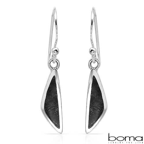 BOMA Stylish Earrings With Genuine Onyxes Made of 925 Sterling silver Length 27mm