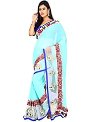 Milonee Light Sky Blue Bamberg Georgette Saree With Unstitched Blouse
