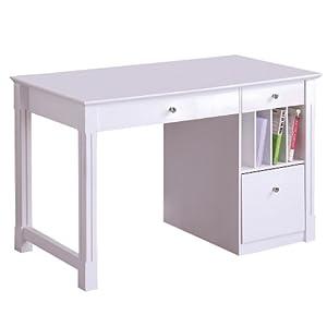 48 inch wide white wood deluxe desk home office desks. Black Bedroom Furniture Sets. Home Design Ideas