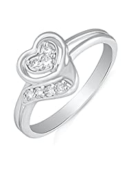 Mahi Rhodium Plated Symphonic Love Finger Ring With CZ For Women FR1100494R