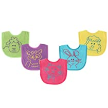 Luvable Friends Bright Animal Bibs 5-Pack, Pink