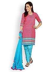 EQ Pink Colour Super Fine Cotton Cambric Salwar Suit Duppatta Material.