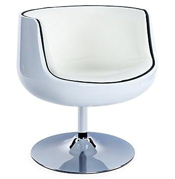 Alterego - Fauteuil design 'DEKO' boule rotative coque blanche, simili cuir blanc