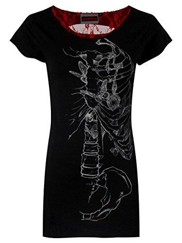 Jawbreaker T-shirt Locket da donna in nero con apertura in rete rossa sul retro