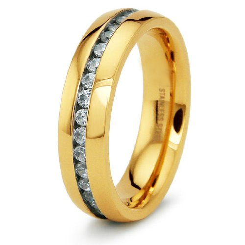6mm 18K Gold Plated Eternity Band with Chanel Set CZs - Size 10