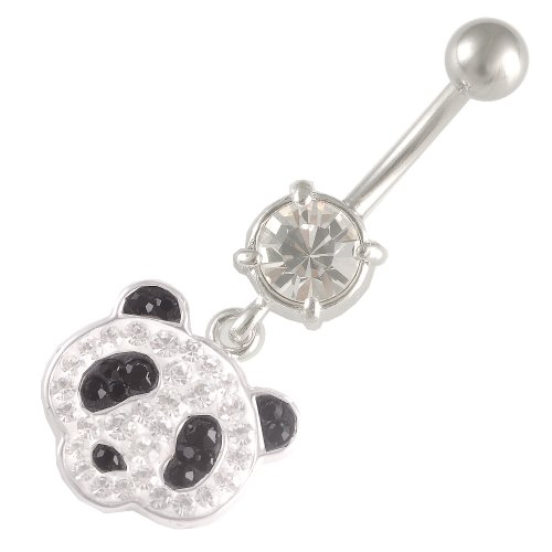 14 Gauge 1.6mm 3/8 10mm Bear Crystal Jet dangling belly Ferido navel button ring bar AKOZ Body Pierced Jewellery