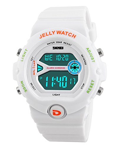 SKMEI Children's SK1153B Outdoor Sports Multifunction Waterproof Jelly Digital Electronic Watch White (Waterproof Jelly Watch compare prices)