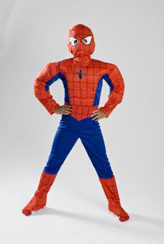 Spiderman Costume Boys kids light up Size S M FREE MASK 4 5 6 7 8 9 (4-6)