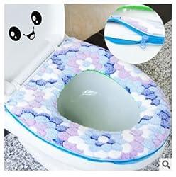 1Pcs New Fashion Household Soft Toilet Seat Cover Washable Toilet Seat with zipper toilet seat cushion (Blue)