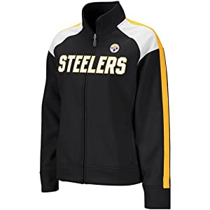 Ladies Pittsburgh Steelers Black Bonded Full Zip Track Jacket from Reebok