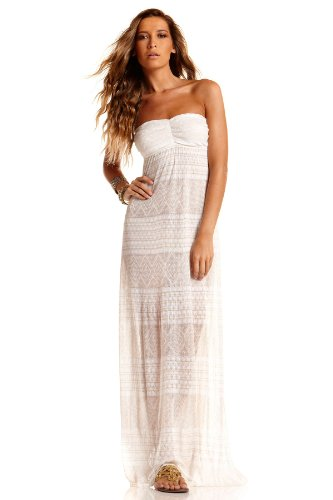 Vitamin A Pavee Diamond Crochet Maxi Dress - White - L