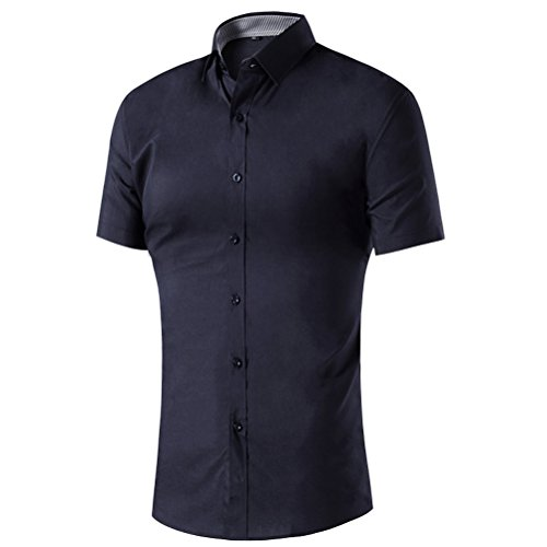 Laixing Qualità Mens H-Quality Shirt Short Sleeves Solid Color Shirt Slim Fit Formal Shirt A030
