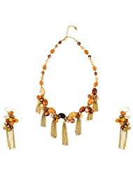 Ajara Linking Stone Brown Enamel Chain Necklace Set For Women
