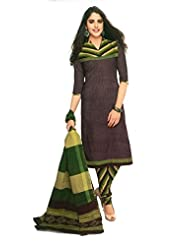 SGC Black Cotton Printed Unstitched Churidar Kameez - (SGS- 226)