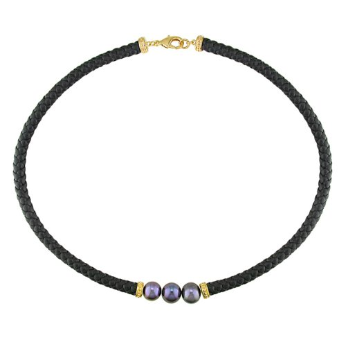 Brass Freshwater Black Pearl Necklace on Black Leather Cord with Pink Plated