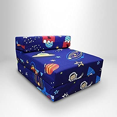 Childrens Single Fold Out Z Bed Chair Space Boy