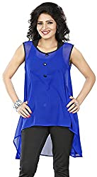 Twinkal Women's Round Neck Top / Tunic(TWTP0020-23_L, Blue, L)