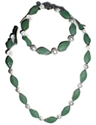 Naarilok Jades And Pearls Chain Set For Women