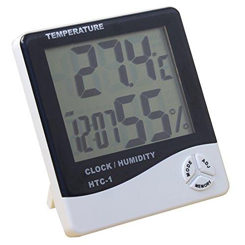 【デジタル温湿度計】 熱中症 ・インフル ・お肌のうるおい等チェックに 温度計 湿度計 時計 アラーム 温度管理 測定器 卓上 スタンド フック穴 単4 おしゃれ|ER-THHY
