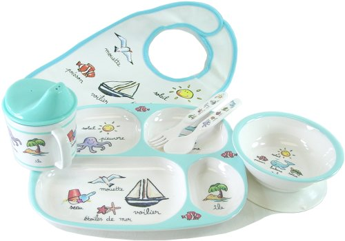 Baby Cie Ocean La Mer Seaside dinner set: bib, fork, spoon, sippy cup, suction bowl, divided tray, 6 pcs - Buy Baby Cie Ocean La Mer Seaside dinner set: bib, fork, spoon, sippy cup, suction bowl, divided tray, 6 pcs - Purchase Baby Cie Ocean La Mer Seaside dinner set: bib, fork, spoon, sippy cup, suction bowl, divided tray, 6 pcs (Baby Cie, Home & Garden, Categories, Kitchen & Dining, Tableware)