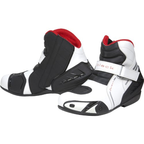 Black Circuit Short Ankle Motorcycle Boots 44 White (UK10)