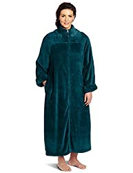 Casual Moments Women's Plus-Size 52 Inch Breakaway Zip Robe, Teal Green, 3X