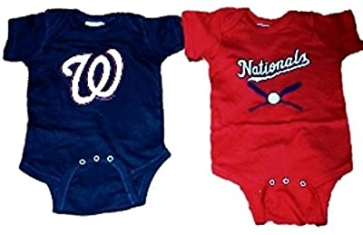 Washington Nationals MLB Newborn Infant Baby Creeper Home and Away Set USA Printed