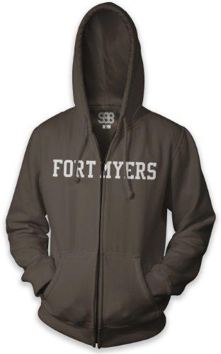 Fort Myers Collegiate Unisex Full-Zip Hooded Sweatshirt, Cocoa, L