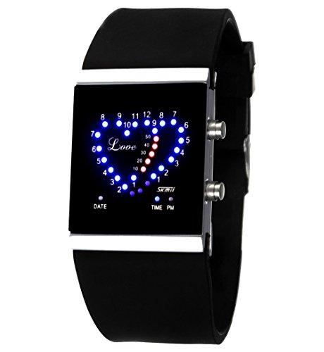 ufengke® einzigartige romantische liebe,die liebe führte gelee armbanduhren für paar paar liebhaber,mode rechteck zifferblatt silikonband geschenk handgelenk armbanduhren,schwarz