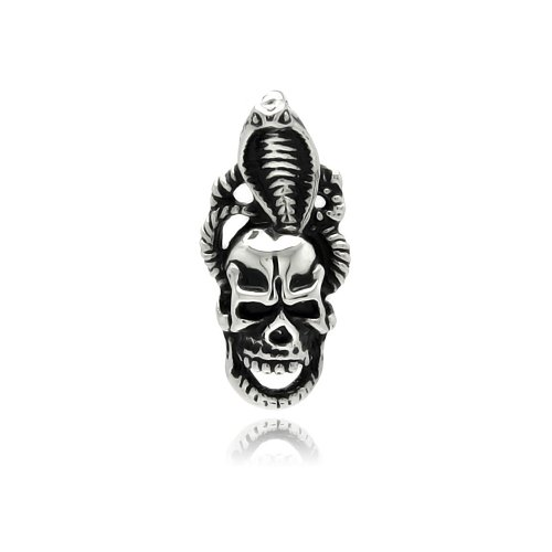 **Lead Free** Stainless Steel 15.5Mm(W)X33Mm(H) Skull With Cobra Design Fashion Charm Pendant