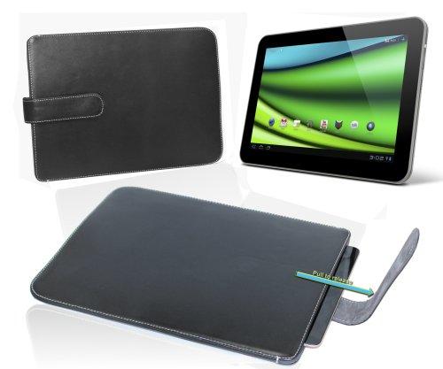 Navitech schwarzes echt Leder Case mit zieh Slaufe für das Samsung Galaxy Tab 10.1 P7510 P7500 / Samsung Galaxy Tab 2 10.1 P5100/ P5110 / Samsung Galaxy Tab 3 10.1 P5200