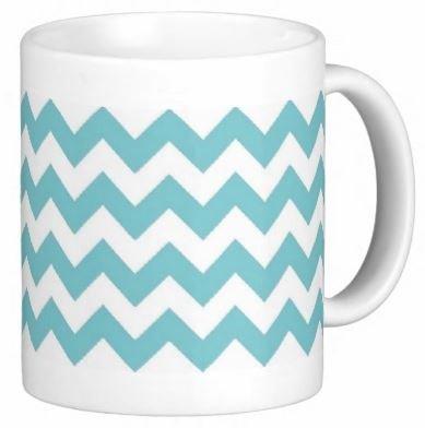 Pair Of Teal Chevron 15 Ounce Coffee Mugs - Custom Coffee / Tea Cups - Dishwasher And Microwave Safe