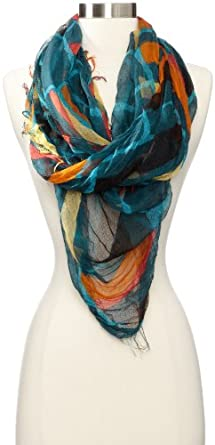 collection eighteen Women's Blocked Plaid Wrap Scarf, Turquoise Wave, One Size