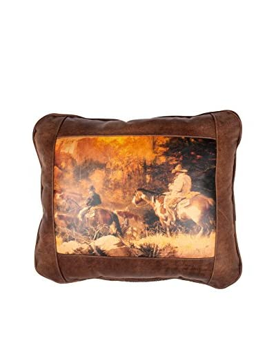 Fall Roundup Leather Pillow, Brown