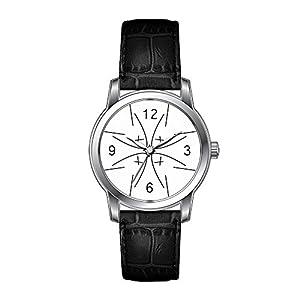AMS Christmas Gift Watch Women's Vintage Design Leather Black Band Wrist Watch Masculine Female Sports Wrist Watch