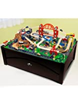 Big Sale Best Cheap Deals KidKraft Metropolis 100-Piece Wooden Train Table Set w/ Trundle Storage | 17935