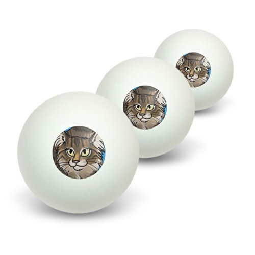 Maine Coon Cat - Pet Novelty Table Tennis Ping Pong Ball 3 Pack