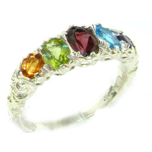 High Quality Solid Sterling Silver Natural Amethyst, Blue Topaz, Garnet, Peridot & Citrine English Victorian Ring - Size 12 - Finger Sizes 5 to 12 Available - Suitable as an Anniversary ring, Engagement ring, Eternity ring, or Promise ring