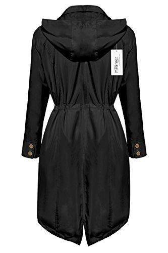Meaneor Women Long Sleeve Spring Single Breat Long Thin Trench Hood Windbreaker (M, Black-Style 2)