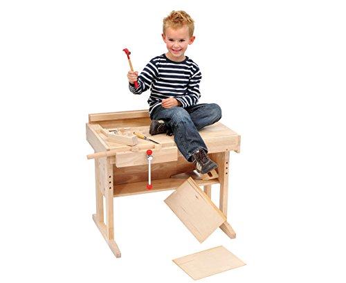Betzold-Kinder-Werkbank-Holz-echte-Kinderwerkstatt-Kinderwerkbank-hhenverstellbar-von-62-68-cm-Arbeitshhe-ca-57-63-cm-Material-Gummibaum-Hartholz-Mae-HxBxT-63-x-70-x-45-cm