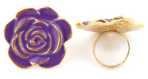 Ladies Purple Flower Shape Metal Adjustable Finger Ring