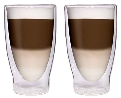 AKTION: 2x 370ml XXL doppelwandige Cocktailgläser / Longdrinkgläser / Eistee-Gläser / Saft- und Wassergläser - 2x 370ml edle extra große Thermogläser mit Schwebeeffekt von Feelino