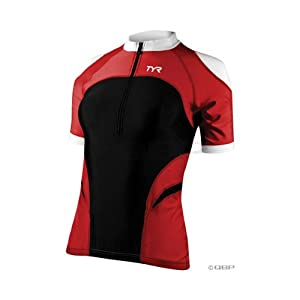 TYR Women's Short Sleeve Cycling Jersey: Red/Black; XL