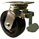 "E.R. Wagner Plate Caster, Swivel with Directional Lock, Polyolefin Wheel, Roller Bearing, 700 lbs Capacity, 6"" Wheel Dia, 2"" Wheel Width, 7-1/2"" Mount Height, 4-1/2"" Plate Length, 4"" Plate Width"